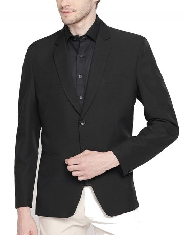 Mens Solid Full Sleeves Black Blazer