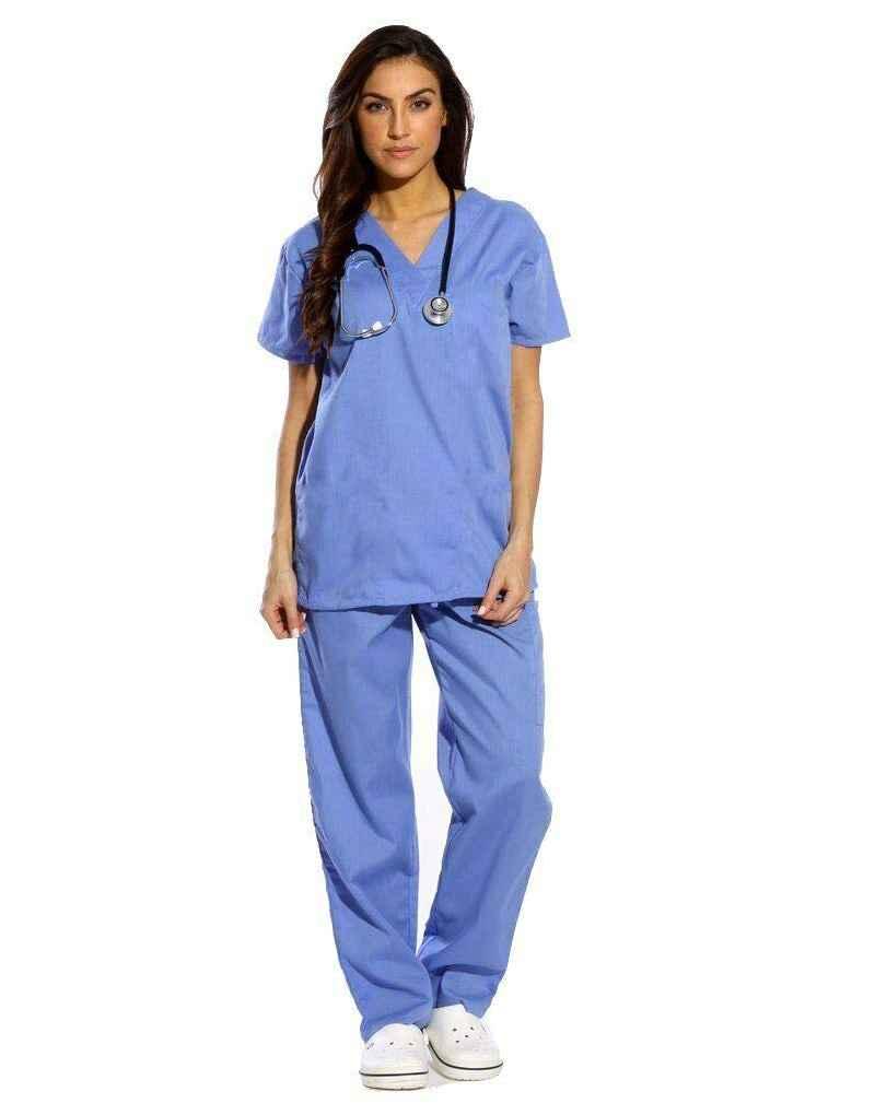 Sky Blue Half Sleeve All-Day Medical Uniform Scrub