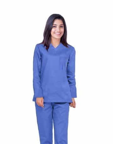 Sky Blue Full Sleeve All-Day Medical Uniform Scrub