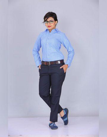 Women's Blue Uniform Checks Shirt Fabrics
