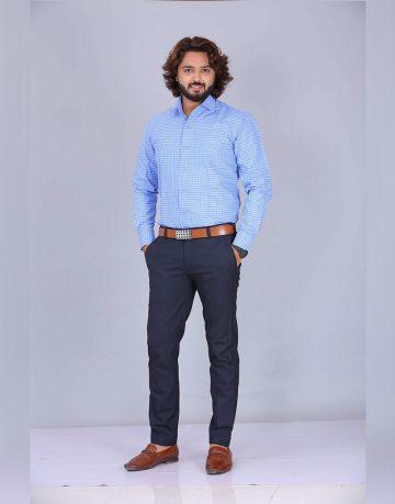 Men's Blue Checks Uniform Shirt
