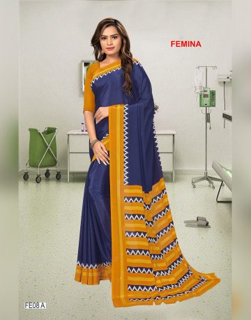 Dark Blue and yellow Femina Uniform Saree