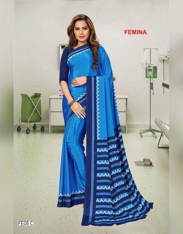 Blue Crepe Femina Uniform Saree