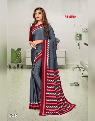Red & Grey FEMINA Uniform Saree