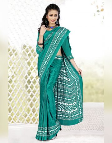 Green Crepe Silk Uniform Saree