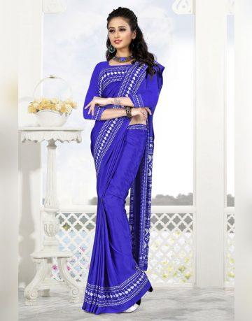 Blue Printed crepe Uniform Saree