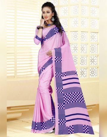 Pink Color Crepe & Silk Saree