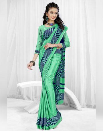 Green with blue stripes Uniform Saree