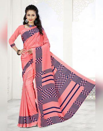 Pink Designer crepe Uniform Saree