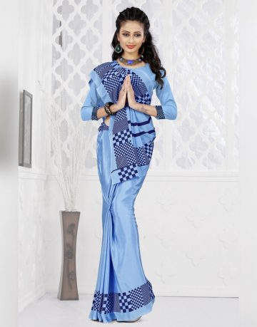 Blue Designer Crepe Uniform Saree