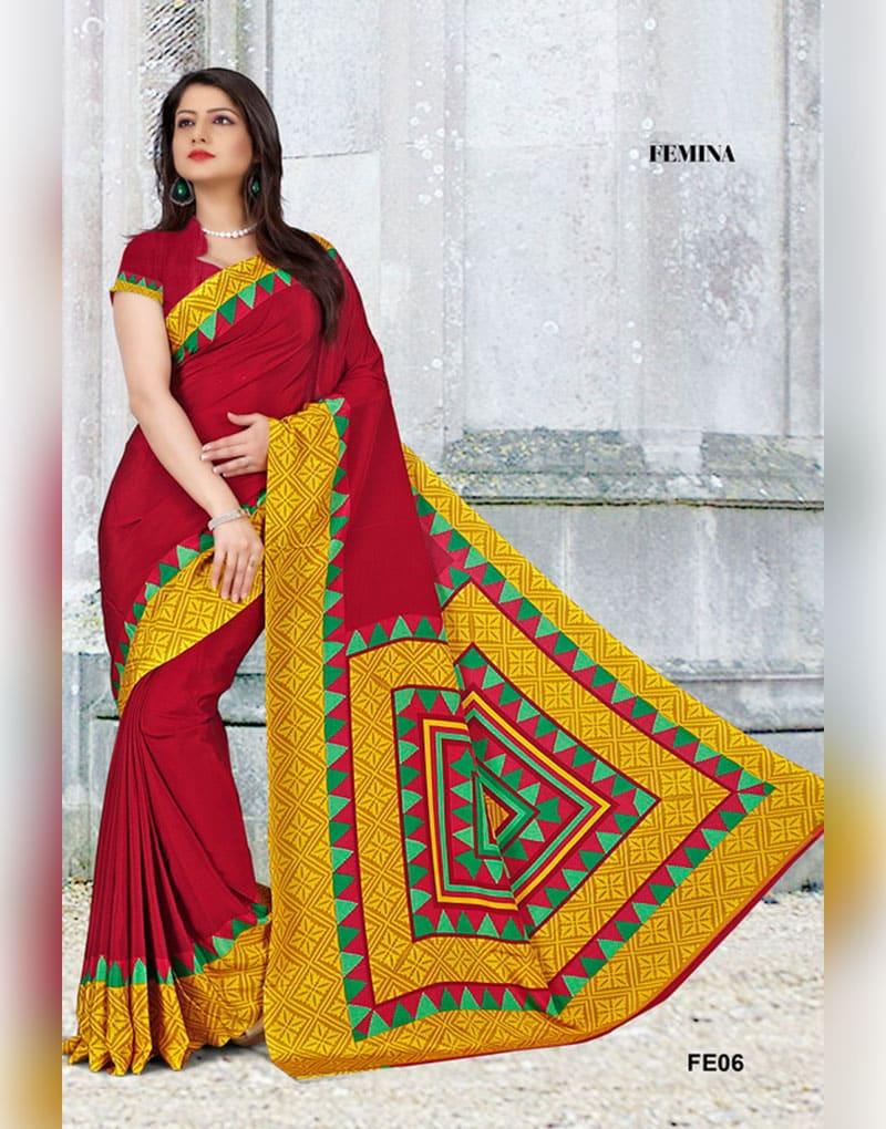 Red and Yellow Femina Uniform Saree