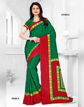Green and Red Femina Uniform Saree