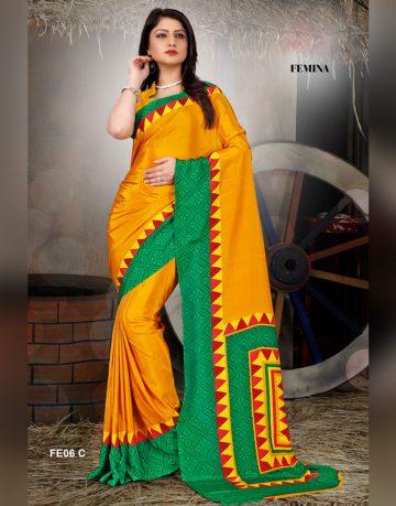 Yellow and green Femina Uniform saree
