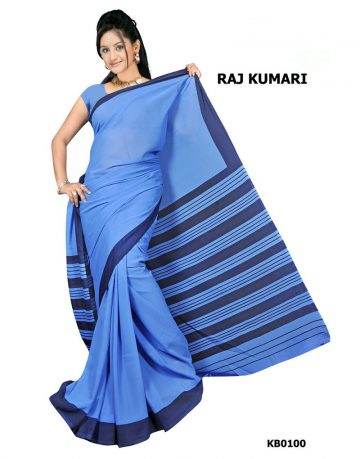 Light Blue Crepe Raj Kumari Uniform Saree