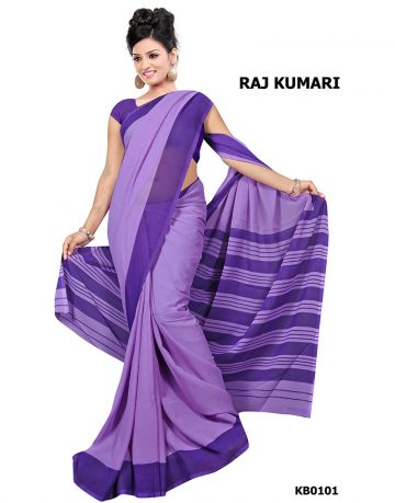 Purple Crepe Raj Kumari Uniform Saree