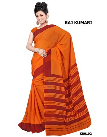Orange Crepe Raj Kumari Uniform Saree
