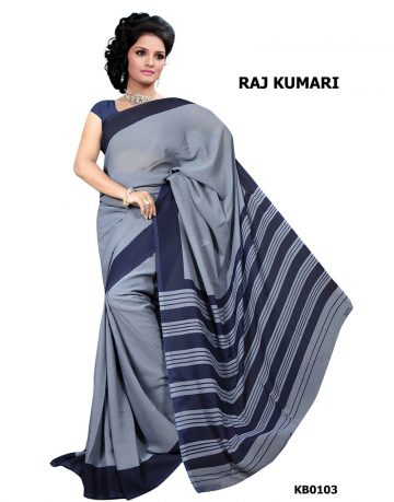 Grey Crepe Raj Kumari Uniform Saree