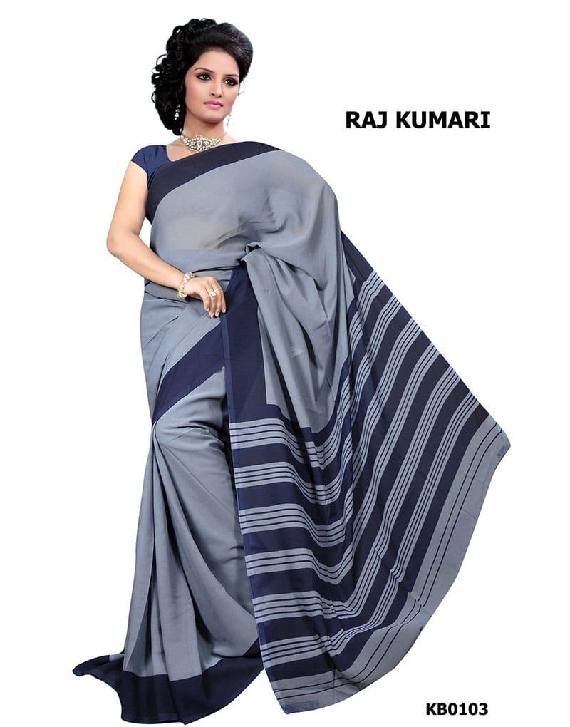 Grey Crepe Raj Kumari Uniform Saree