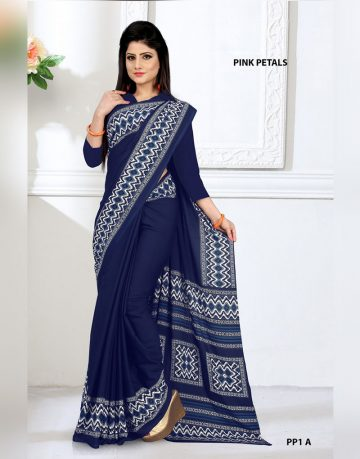 Dark Blue and White Pink Petals Uniform Saree