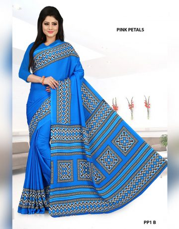 Light Blue Crepe Pink Petals Uniform Saree