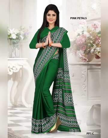 Green Crepe Pink Petals Uniform Saree