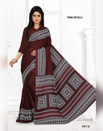 Brown Crepe Designer Pink Petals Uniform Saree
