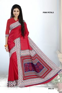 Red and white Crepe Pink Petals Uniform Saree