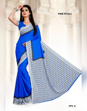 Blue & White Border Crepe Pink Petals Uniform Saree