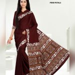 Brown Crepe Pink Petals Uniform Saree