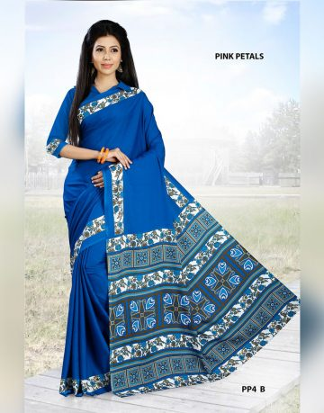 Blue Crepe Pink Petals Uniform Saree