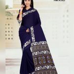 Navy Blue Crepe Pink Petals Uniform Saree