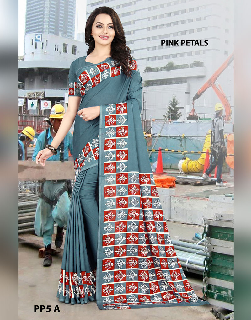 Grey Crepe Pink Petals Uniform Saree