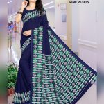Navy Blue Crepe Pink Petals Uniform Saree for Teachers
