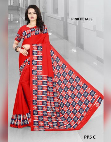Red Crepe Pink Petals Uniform Saree for Corporates