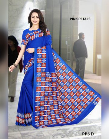 Printed blue crepe Pink petals uniform saree