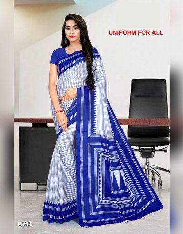 Blue and white uniform for all saree