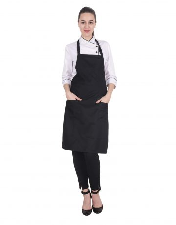 Black Apron with Front Pockets - Kitchen Apron