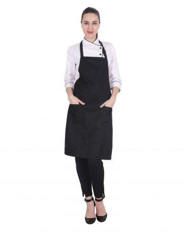 Black Apron with Front Pockets - Kitchen Apron