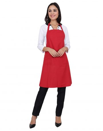 Red Apron with Front Pockets - Kitchen Apron