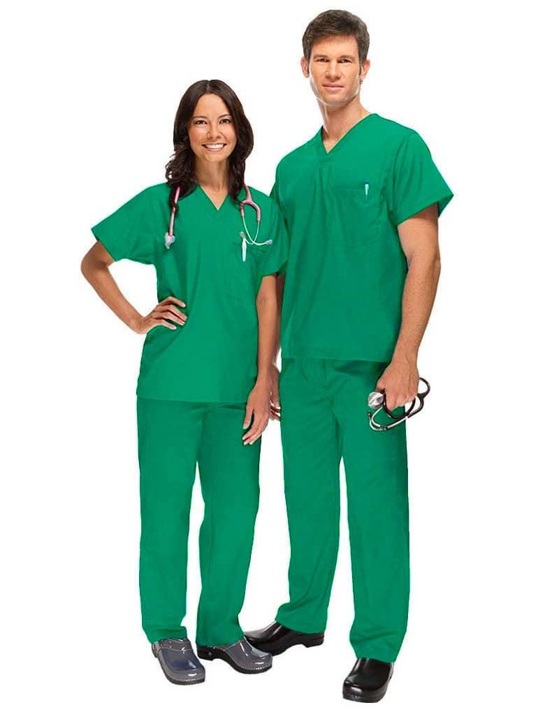 scrub-front-dark-green-unisex