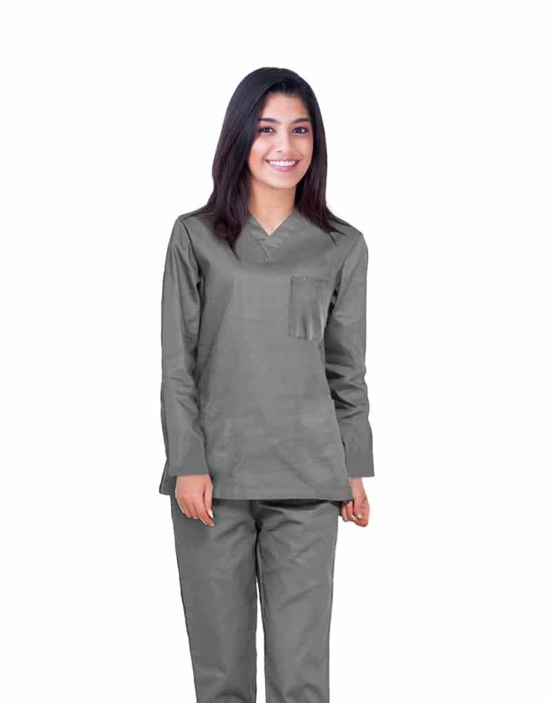 Dark Grey Full Sleeve Medical Scrubs