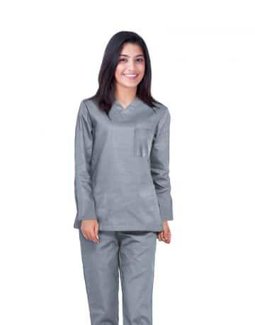 Grey Full Sleeves All-Day Medical Scrub