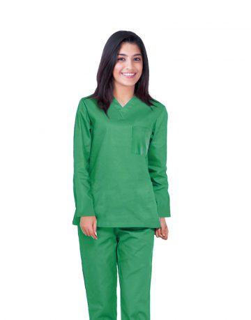 Spinach Green Full Sleeve All-Day Medical Scrubs
