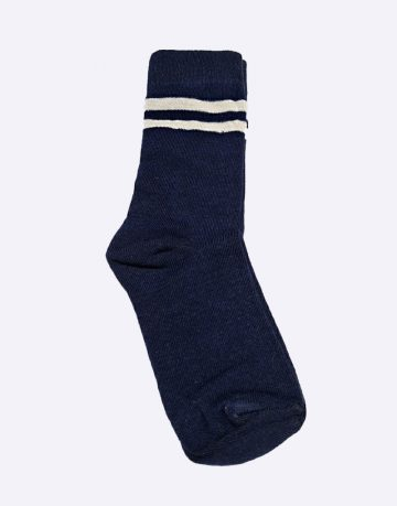 Navy Blue With White Double Stripe