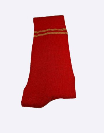Red Colored Socks With Brown Double Stripes
