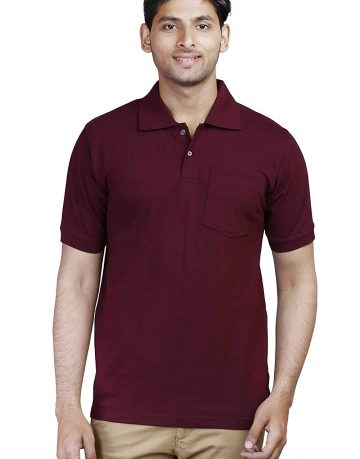 Men's Maroon Polo Collar T-shirt