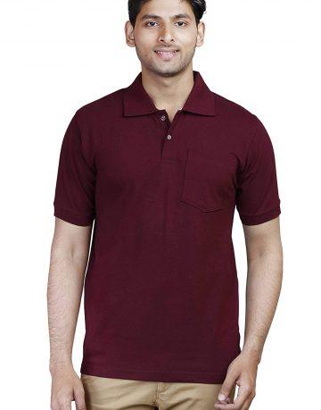 Men's Maroon Polo Collar T-shirt