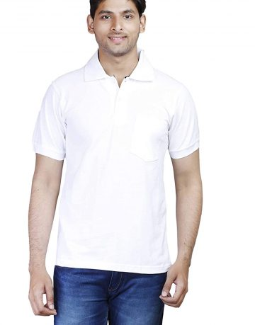 Men's White Polo Collar t-shirt