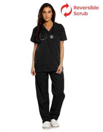 Black Reversible Half Sleeve Medical Scrubs