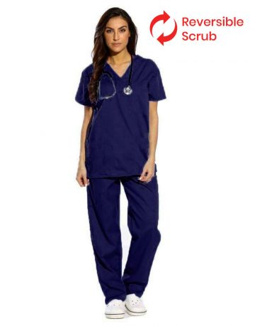 Blue Black Reversible Half Sleeve Medical Scrubs
